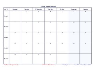 2011 Calendar | 2011 Month Week Day Planners | Free Download 2011 ...